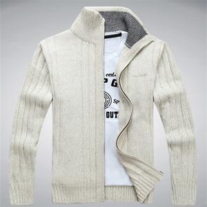 Image 1 - Homem camisola casual masculino cardigan grosso suéter de caxemira combate outerwear inverno marca exército verde branco azul a0369
