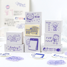 Stamps Scrapbooking Yoofun Cute Stationery Wooden for DIY Craft Cartoon 8-Designs