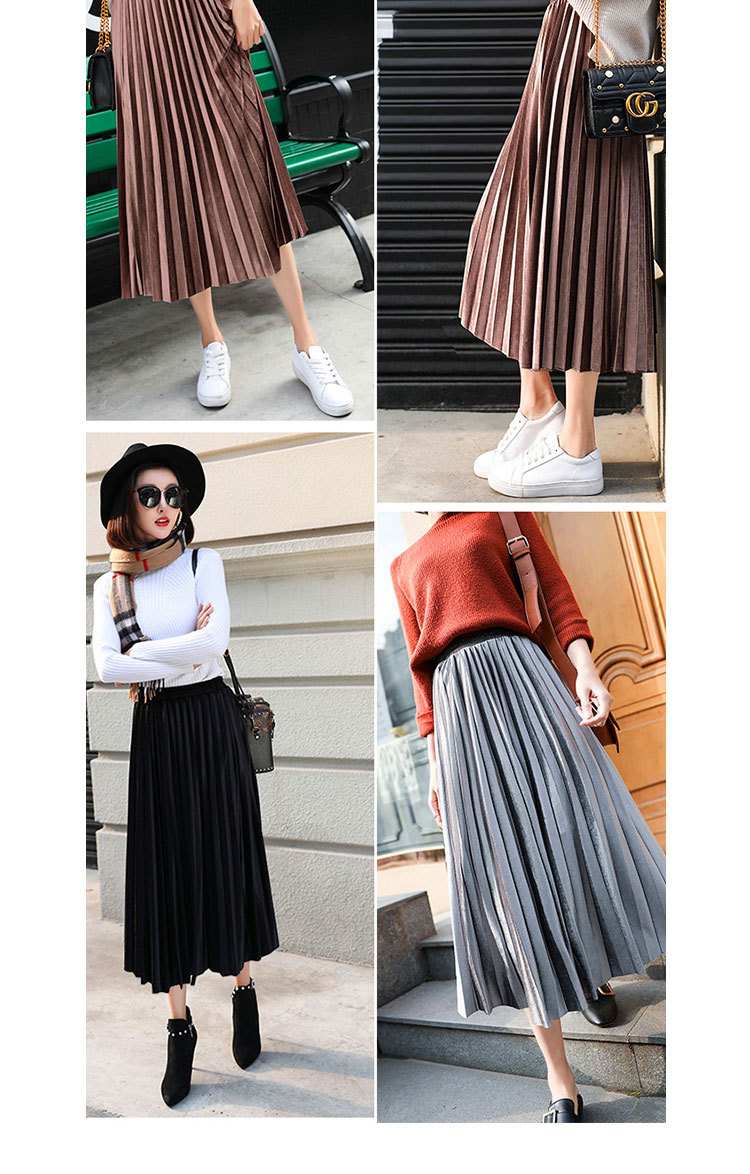 Hbe92b71257e6494e8956991a9e0455c5n - Gold Velvet Long Skirt Women Fall Winter Korean Pleated High Waist Casual Loose Office Lady Clothes Bottoms Plus Size