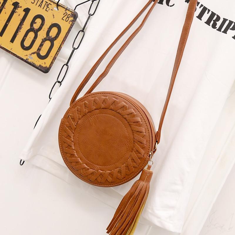 New Fashion Women Bag Tassel Round Weave Cross Body Shoulder Bag Ladies Pu Leather Handbag Cute Roll Girl Beach Bag Bolsos Mujer