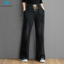 Loose Jeans Pants Wide-Leg Women Denim Vintage Trousers Elastic High-Waist Solid-Color