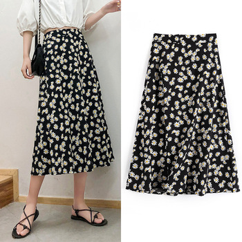 Daisy Skirt Women's Summer 2020 New Spring and Autumn A- line  High Waist Mid-Length Printed Elegant Skirt daisy printed empire waist handkerchief tankini
