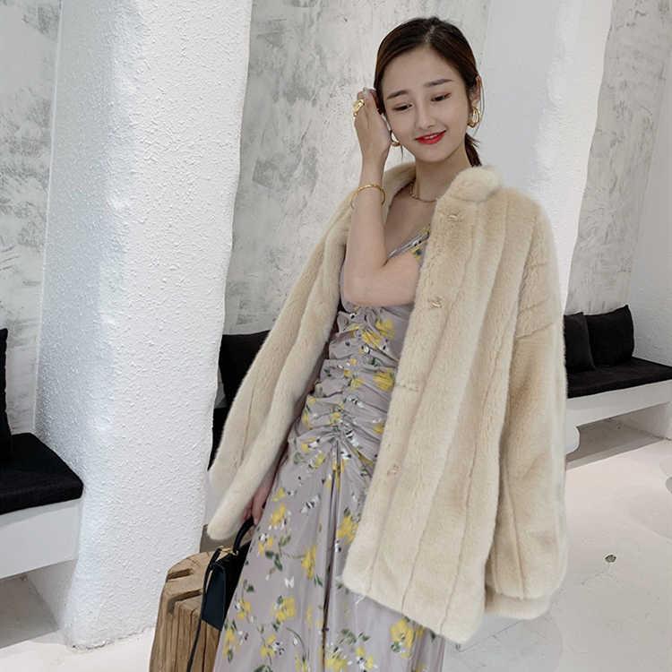 Bulu imitasi mantel bulu dengan puff lengan untuk anak perempuan dengan tebal hangat mewah Imitasi mink coat pendek