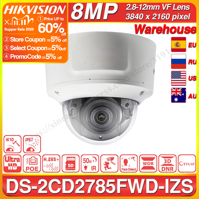 Hikvision Original DS 2CD2785FWD IZSกล้องโดม 8MP POEกล้องวงจรปิด 50M IRช่วงIP67 IK10 H.265 + 2.8 12 มม.