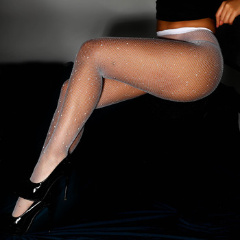 New Sexy Crystal Fishnet Stockings Tights Rhinestone Pantyhose Sexy Lingerie Black Lace Thigh High Stockings For Women Medias 5