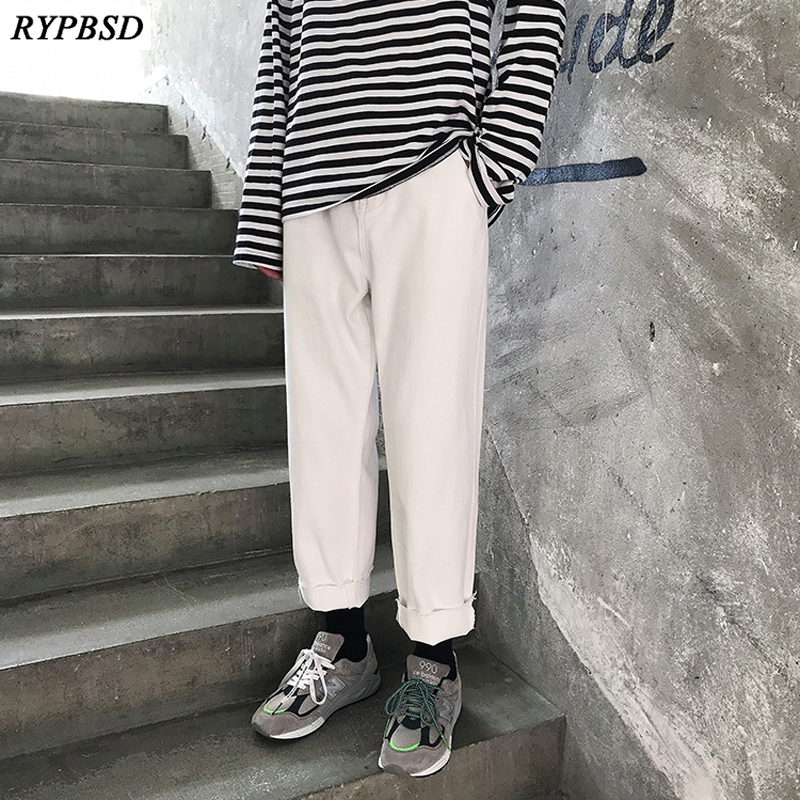 White Denim Pants Brand Jeans Pants Men Korean Fashion Casual High Quality Cotton Straight Zipper White Trousers Men S-XL