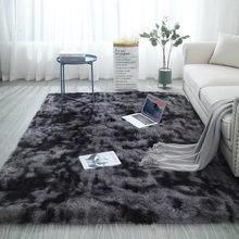 Dark Grau Plüsch Teppich für Wohnzimmer Krawatte Färben Flauschigen Teppiche Kinder Anti-slip Bett Zimmer Boden Teppiche Fenster nacht Weiche Samt Matte