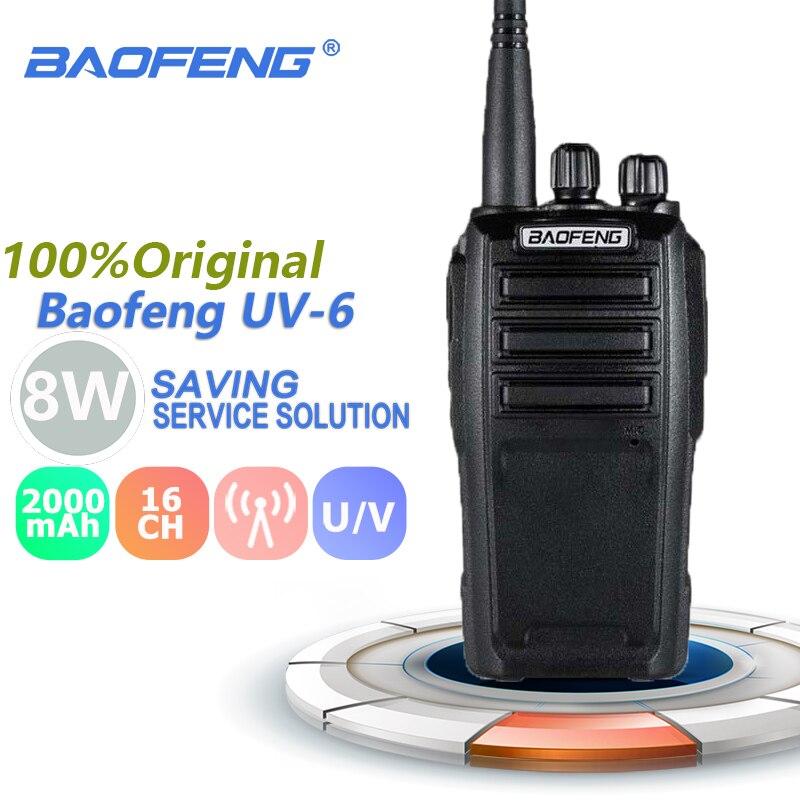 Baofeng UV-6 Walkie Talkie 8W UHF&VHF 2000mAh Two Way Radio Comunicador Uv6 UV 6 Rechargeable Ham Car Portable Powerful Radios