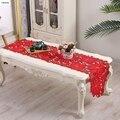 Vezon, новинка, Рождественская, полиэфирная, с вышивкой, Рождественская скатерть, атласная Скатерть, подстилка под стол, красное, настольное полотенце-флаг, тканевые чехлы - фото