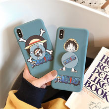 Cute Cartoon Phone stand One piece Case For Huawei nova mate 3 4 p10 p20 p30 pro honor 9 10 8x play Luffy Skull soft TPU Cover(China)