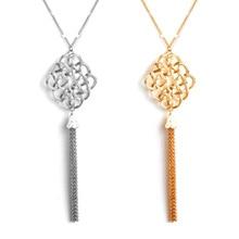 2 Pcs/ Set Ladies Long Tassel Pendant Necklace Bohemian Fashion Hollow Geometric Sweater Chain Jewelry