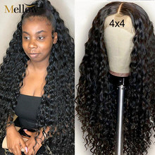 Peruca de fechamento ondulado brasileiro, cabelo humano encaracolado 4x4 5x5 de renda 4*4 perucas para mulheres negras
