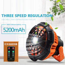 Portable Ceiling Desktop Fan LED Light Rechargeable Remote Control For Outdoor Camping Family Office