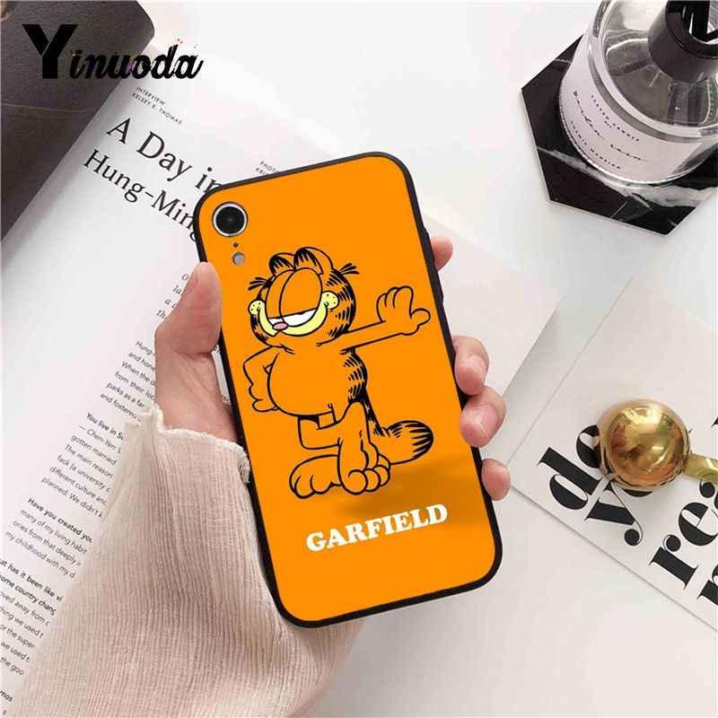 Yinuoda karikatür Garfield kedi Coque kabuk telefon kılıfı kapak için iPhone 8 7 6 6S X XS MAX 5 5S SE XR 10 11 Pro Max