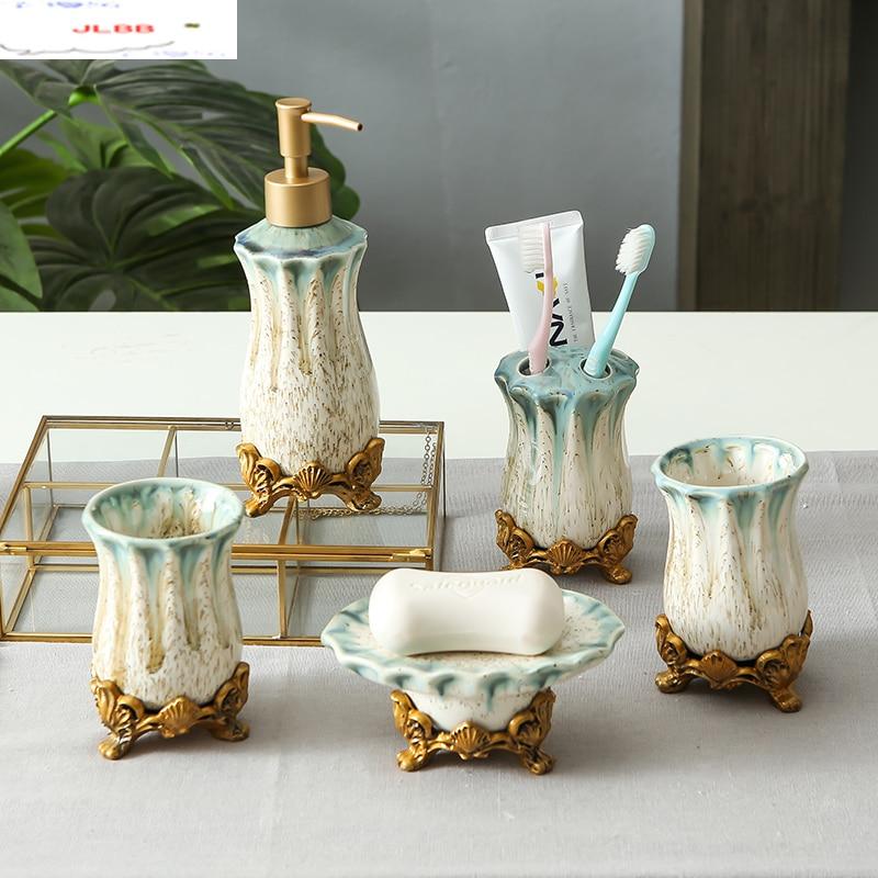 North European Ceramics Bathroom Five-piece Suit Bathroom Wash Supplies Home Mouthwash Cup Toothbrush Holder Set Combination
