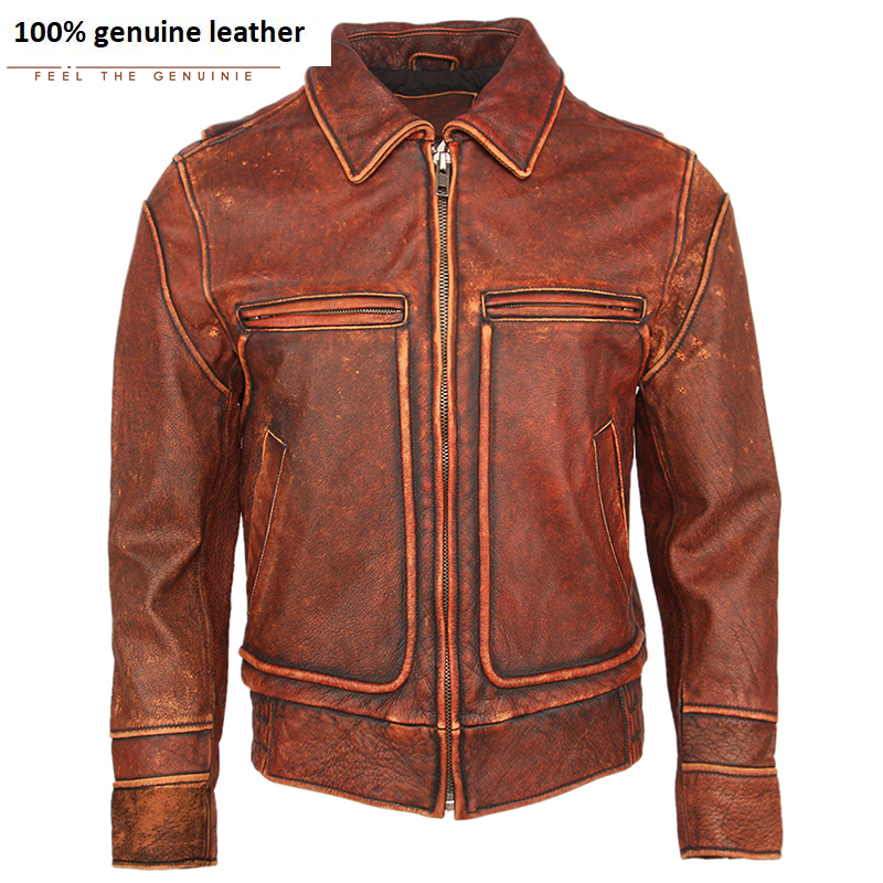 Vintage Distressed Red Brown Men Leather Jacket Thick Natural Cowhide Skin Coat Mens Genuine Leather Jacket Winter Clothing M451