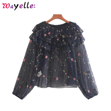See Through Top Women Sexy Shirt  Sweet Floral Embroidery Tops Blouses and 2019 Long Sleeve Ruffles Korean