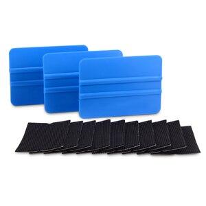 Image 2 - Foshio 10 pçs filme de vinil envoltório do carro feltro tecido + 3pcs fibra carbono rodo raspador para limpeza janela matiz ferramentas de envolvimento automático
