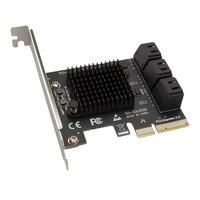 Adaptador de 6Gbps SATA PCIe, tarjeta de expansión de controlador para Windows, Mac, NAS, LINUX, 6 puertos SATA III A PCI Express 3,0 X4
