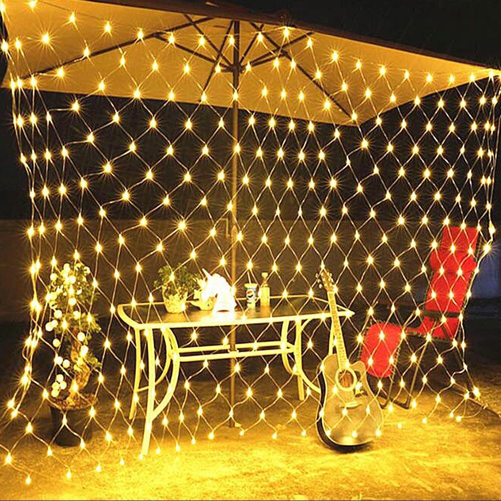 Mesh LED Fairy Lights Outdoor EU 220V Lighting String Holiday Party Christmas Night Light Decoration Net LED Garland Wall Lamp