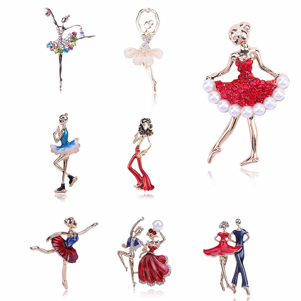 Exquisite Crystals Brooches Red Rose Gold Pretty Flower Skirt Pearl Ballet Dancer Ballerinas Brooch Women Girls Gift Pins Broach