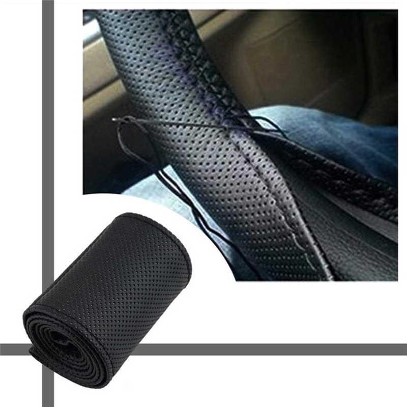 Voiture-style universel 38CM bricolage Texture doux Auto voiture volant couvre voiture accessoires intérieur Automobile tressage couvertures