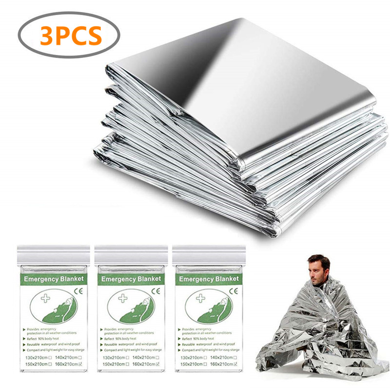 3 Pack Emergency Blanket Thermal Mylar Space Blanket Silver Foil Blanket Survival Blanket Windproof Waterproof Survival Gear