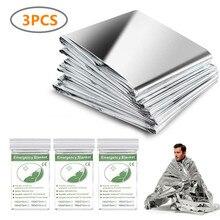3 Pack Emergency Blanket Thermal Mylar Space Blanket Silver Foil Blanket Survival Blanket Windproof Waterproof Survival Gear
