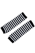 Stylish Winter Warm Black White Striped Long Fingerless Gloves(China)