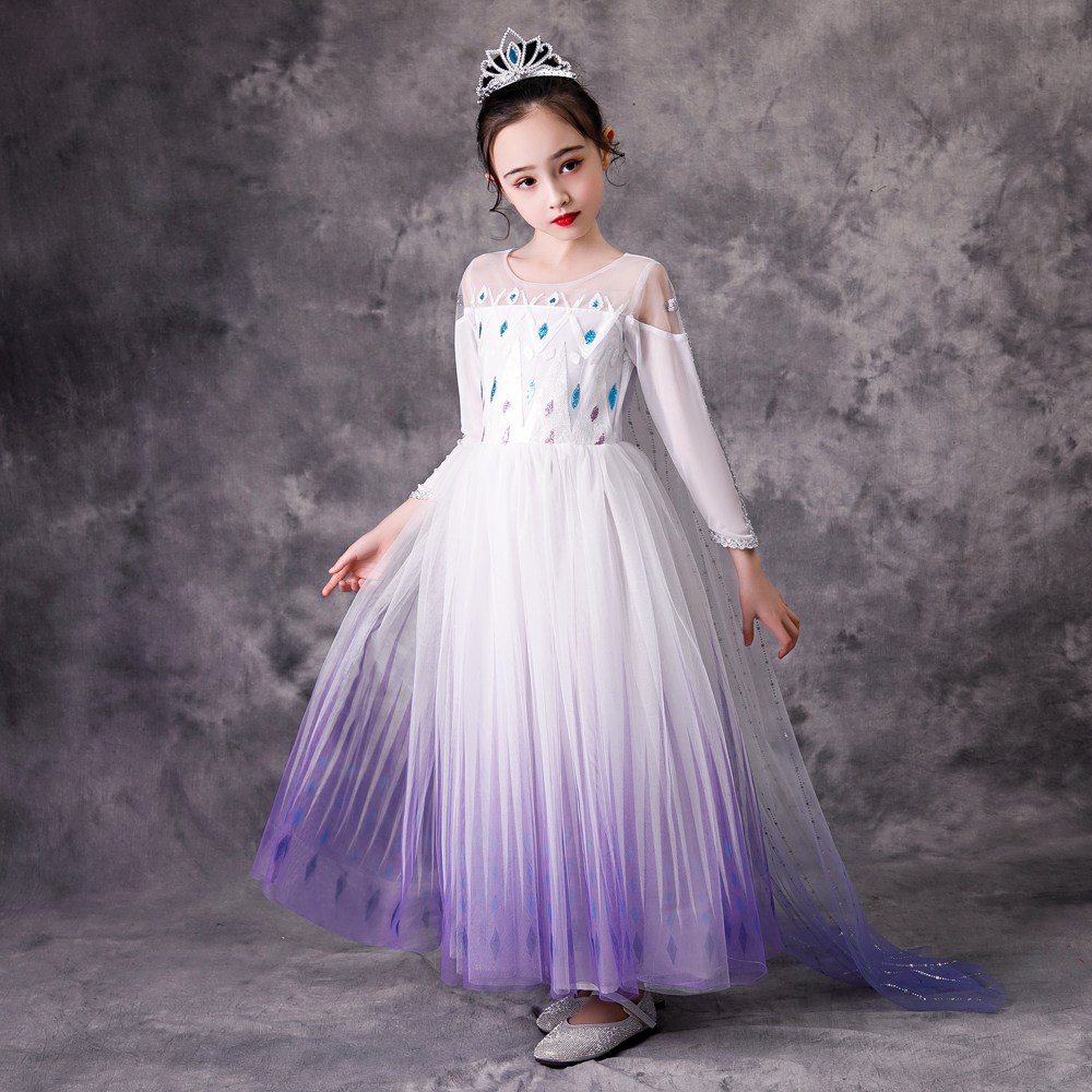 Top Snow Queen Baby Girl White Elsa Dress Anna Elsa Cosplay Costume Summer Princess Dress Halloween Birthday Party Wedding Dress