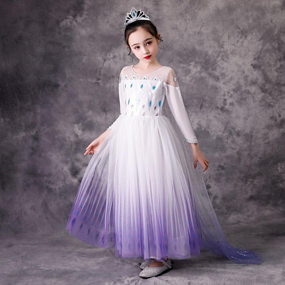 Top Snow Queen Baby Girl White Elsa Dress Anna Elsa Cosplay Costume Summer Princess Dress Halloween Birthday Party Wedding Dress(China)