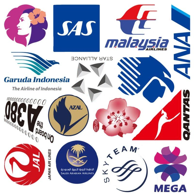 55Pcs/SET New Style Airline Logo High Quality Stickers Aviation Travel Trip for Suitcase Laptop Decal DIY Waterproof Sticker