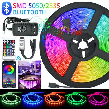 Listwy LED światła Bluetooth Luces Led RGB 5050 SMD 2835 elastyczna wodoodporna taśma dioda 5M 10M 15M DC 12V pilot + Adapter tanie i dobre opinie KCDVN CN (pochodzenie) ROHS SALON 50000 light Taśmy 2 88 w m Epistar 12 v Smd5050 RGB 5050 2835 EU US AU UK Socket No white purple yellow light