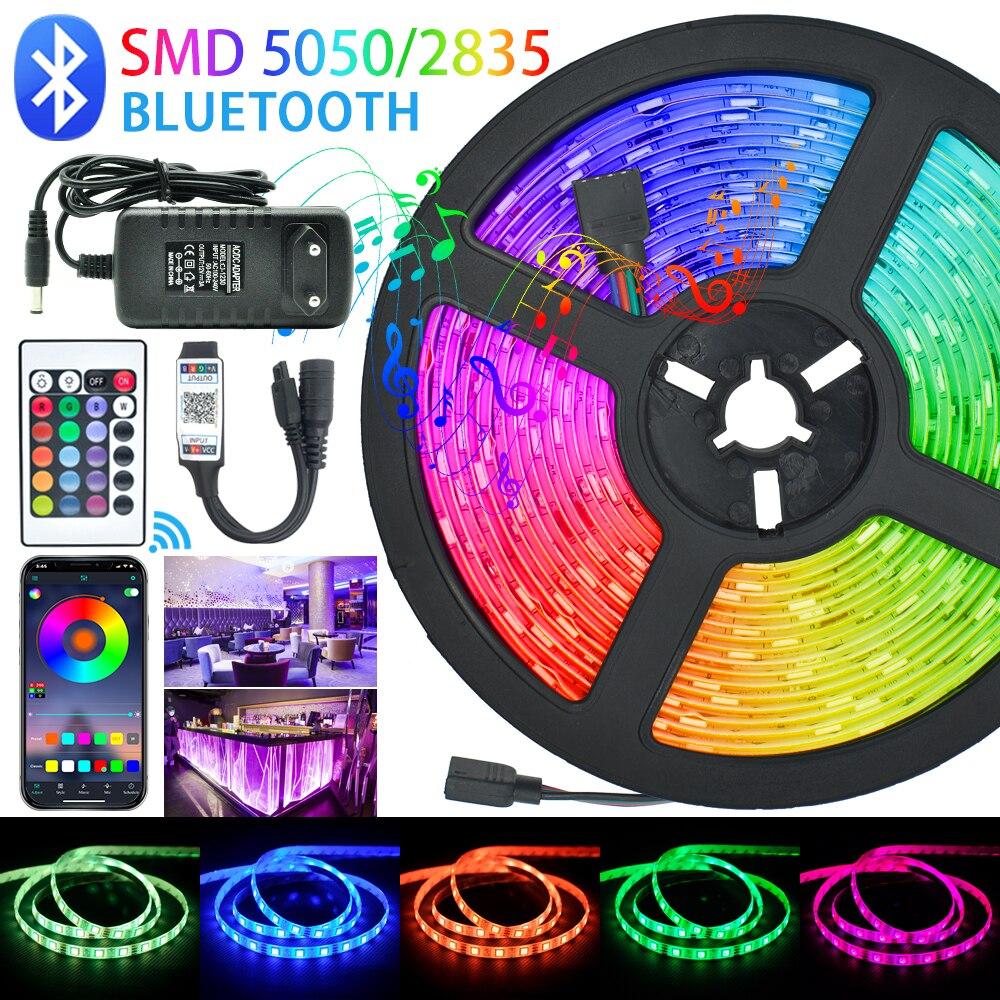 Tiras de Luces LED con Bluetooth RGB SMD 5050 2835, Flexible, resistente al agua, diodo de cinta, 5M, 10M, 15M, CC, 12V, mando a distancia + adaptador