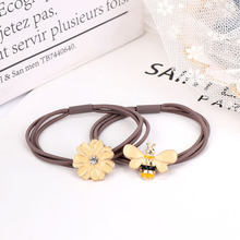 Cute Daisy Flower Hair Clip Fashion Elastic Rope Lovely Bee Pins for Woman Girls Ponytail Holder Accessories