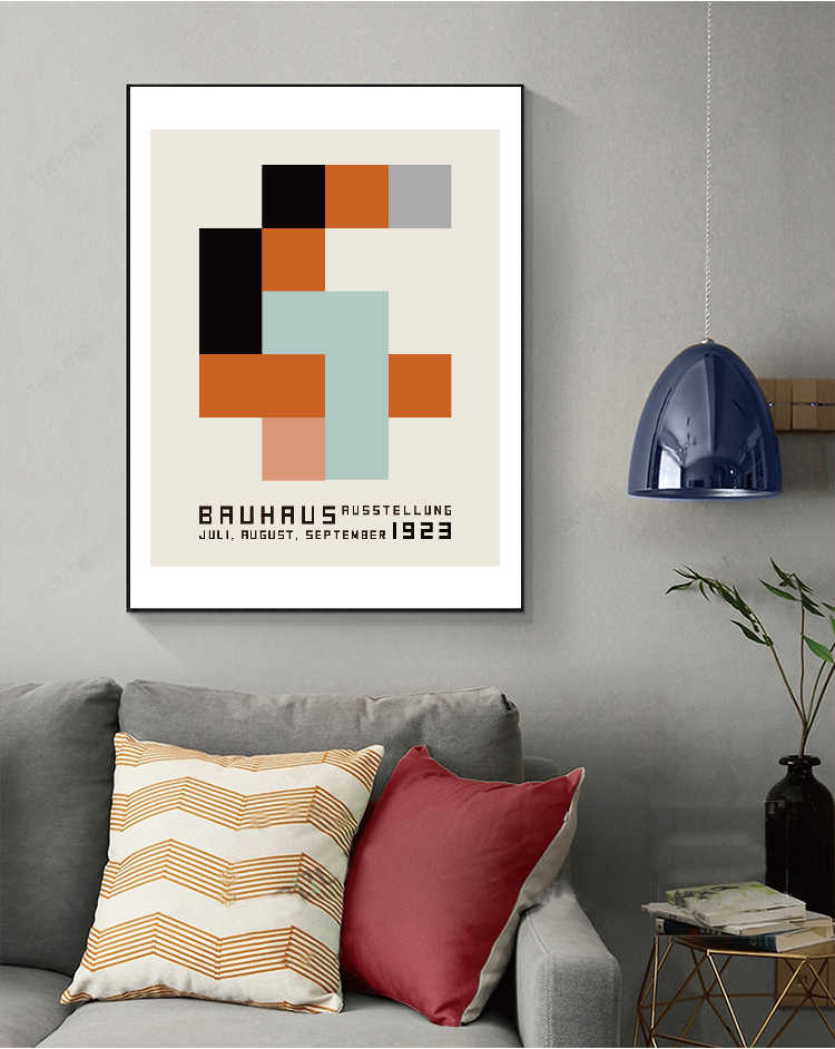 Bauhaus exhibition wall posters,abstract wall art  Canvas Painting Nordic Posters And Prints Wall Pictures For Living Room Décor