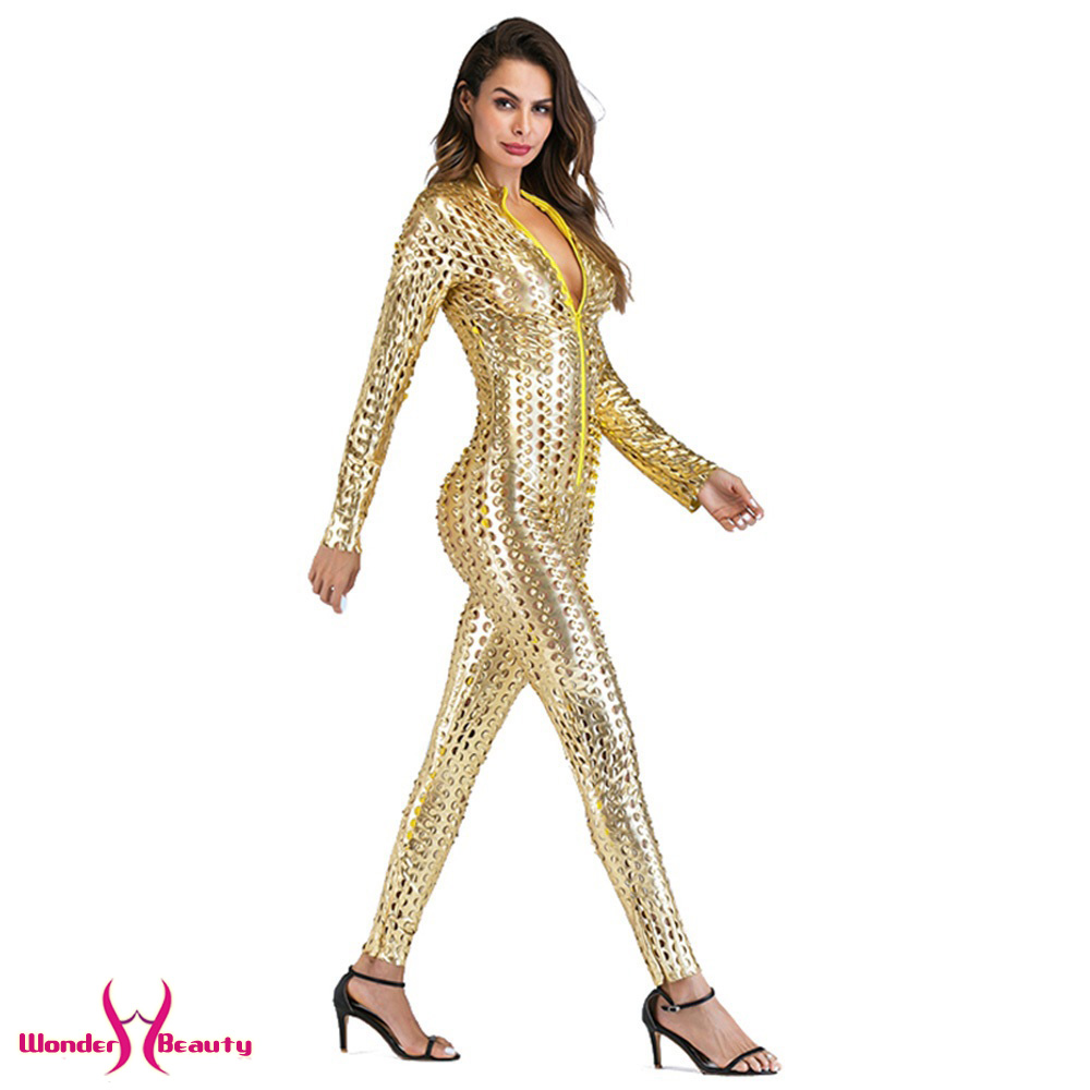faux leather catsuit catwomen shiny black gold silver metallic leather jumpsuit wetlook pu leotard bodysuit bar night clubwear (6)