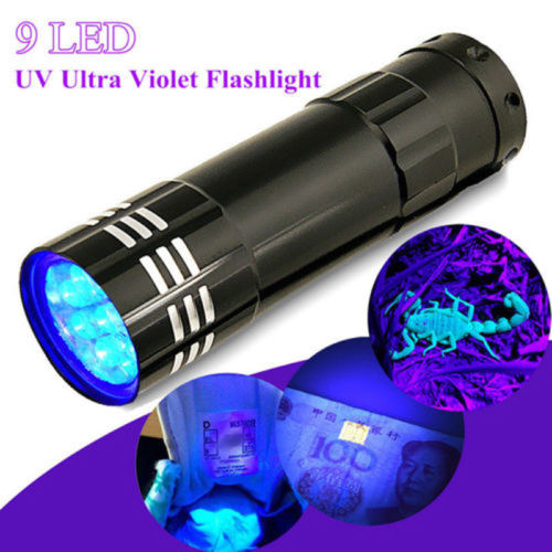 Mini Aluminum UV Light Flashlight 9 LED Blacklight Torch Light Lamp Black Night Outdoor Illumination Defense Flashlight