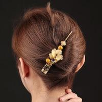 Elegant Coloured glaze Flower Hair grips Jewelry Vintage Ceramics Barrettes Chinese Enamel Hair Pins Ornaments Ethnic Hair Clips
