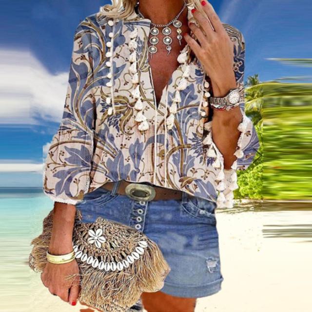 Boho Blouse Elegant V Neck Tassel Women Tops Sexy Three Quarter Sleeve Floral Print Shirt 2020 Spring Autumn Chic Blouses S-2XL 5