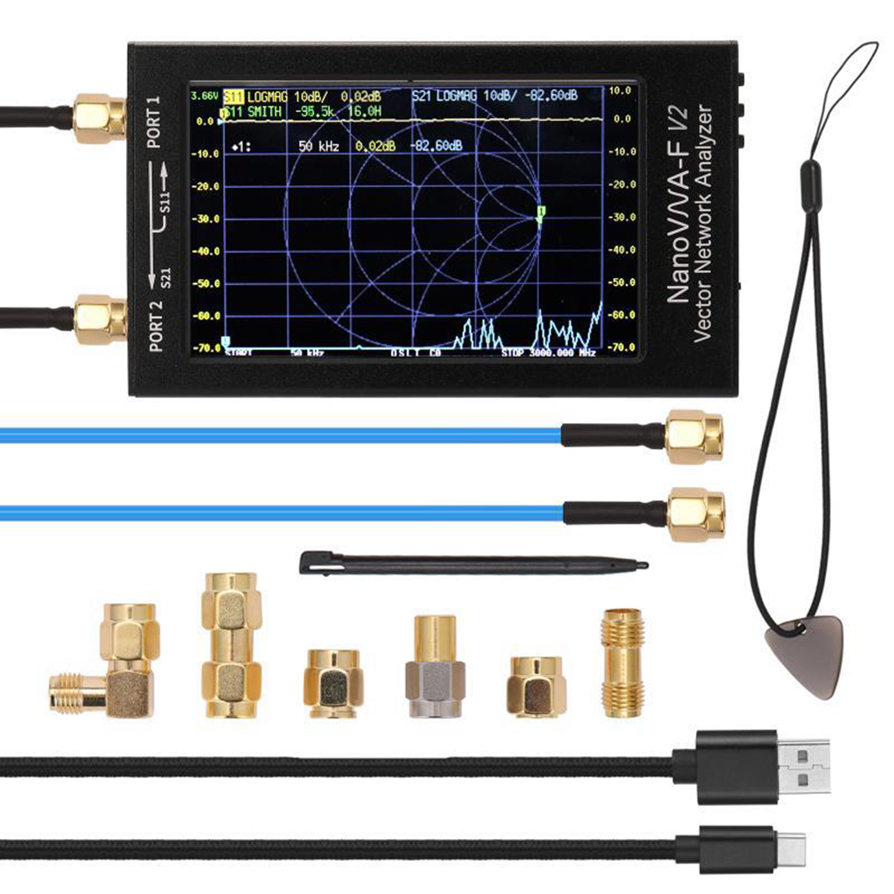 Векторный анализатор сети Ips S-A-A-2 NanoVNA V2, цифровой нано-анализатор, тестер MF HF VHF UHF USB, анализатор логической антенны, стоячей волны