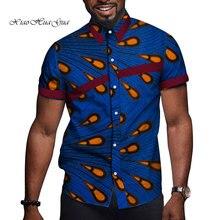 الأفريقية الرجال الملابس بازين الثراء طباعة السببية الرجال حفلة قصيرة الأكمام بلايز تيز قميص Dashiki أنقرة WYN714