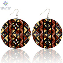 Jewelry Drop-Earrings Wooden Ethnic Traditional Bohemian African Loops Afrocentric Women
