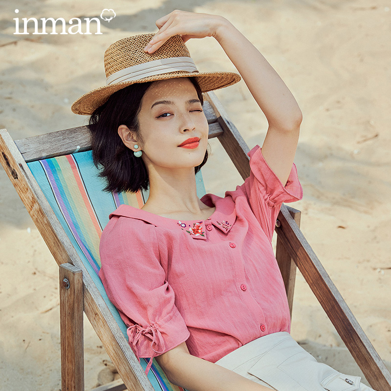 INMAN 2020 Summer New Arrival Peter Pan Cololar Literary Embroidered Japan Style Vintage Short Sleeve Blouse
