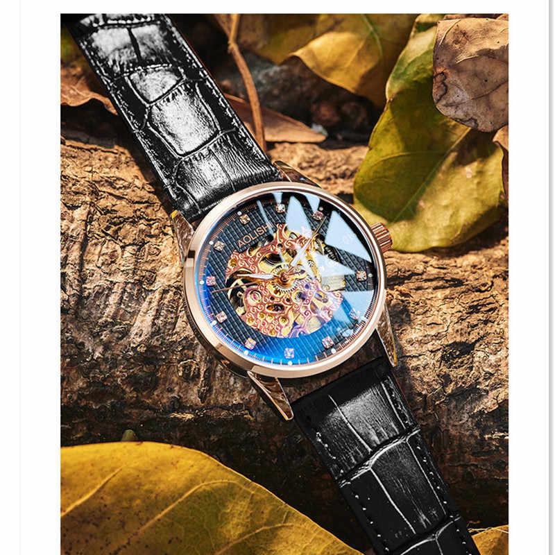 Ajur spor saat erkek bilek saatler içi boş iskelet otomatik izle erkekler için AOLISHI su geçirmez erkek saat el