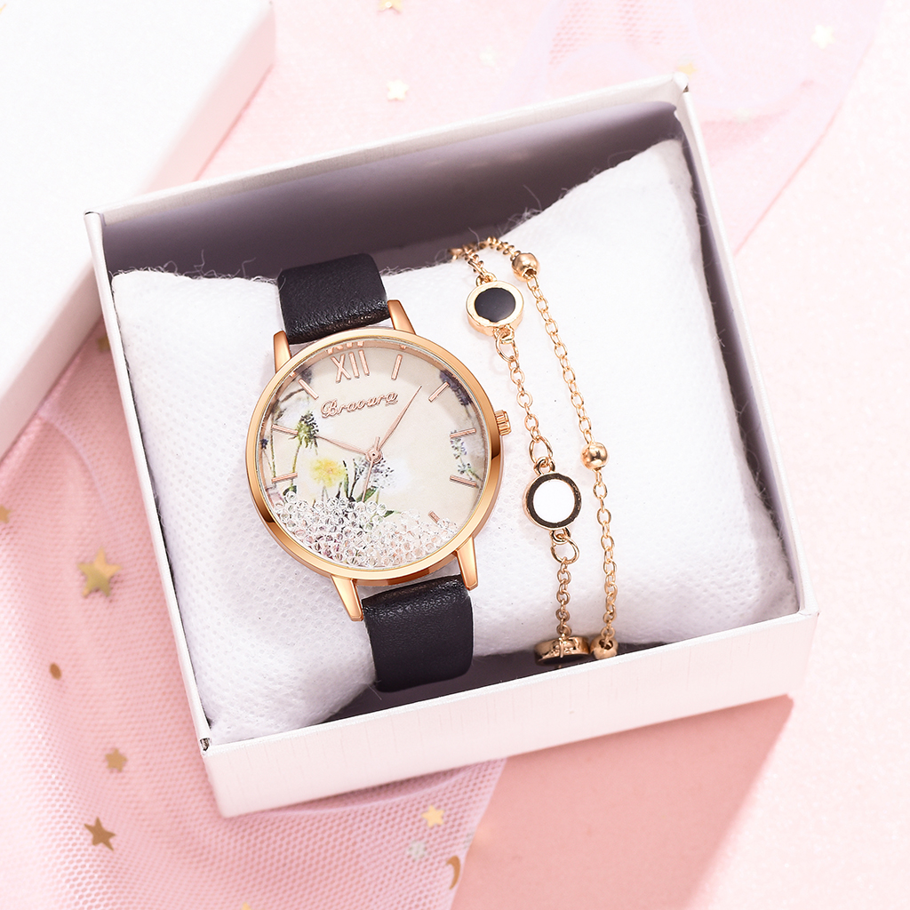 2pcs Set Hot Luxury Women Watch 2020 Bracelet Fashion Ladies Bracelet Watch Casual Leather Quartz Wristwatch Clock Reloj Mujer