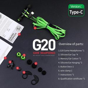 Image 5 - משחקי אוזניות סוג C G20 hammerhead בס אוזניות עם מיקרופון משחקי אוזניות עבור PUBG גיימר לשחק 2.2M wired אוזניות עבור טלפון