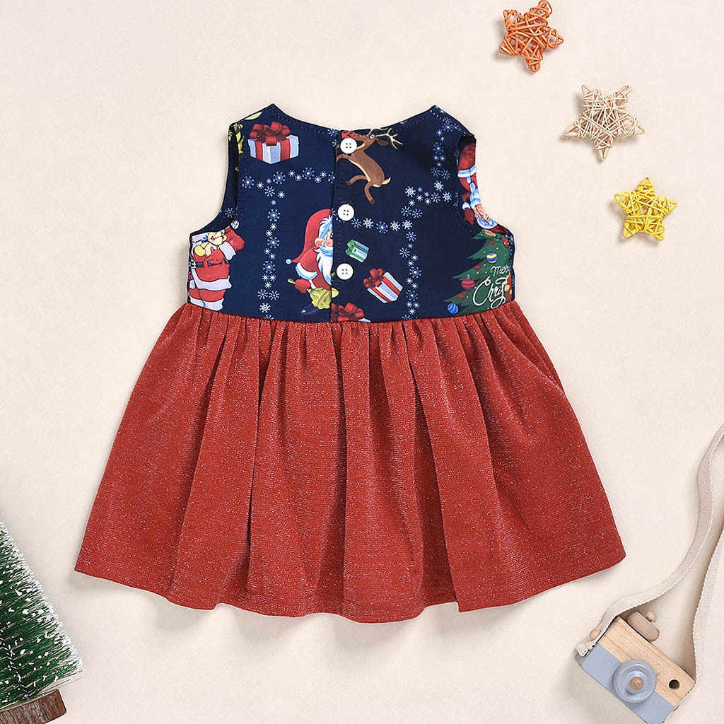 MUQGEW Christmas Dresses For Toddler 2019 Fashion Baby Girls Sleeveless Dresses Christmas Cute Cartoon Deer Print Dress Clothes
