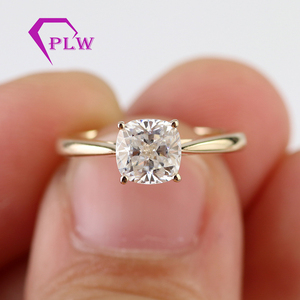 Image 5 - Customizd 14K Yellow Gold 9x9mm 3.5ct Cushion Old Europe Cut D Color VVS Moissanite 2mm Band Width Solitaire Ring Fast Shipping