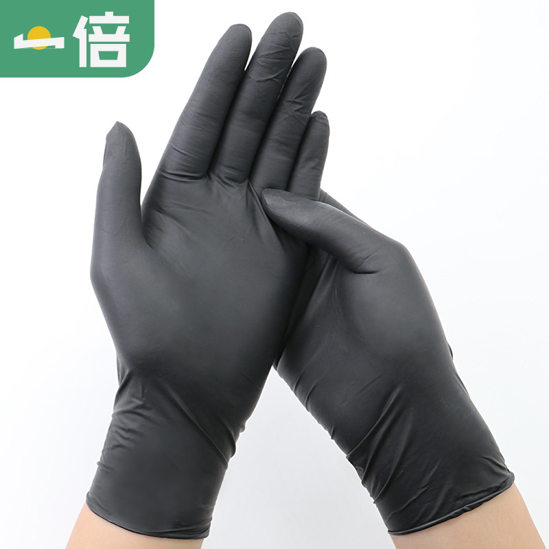 Rubber Wash Dishes Shampoo Waterproof Rubber Household Hair Salon Gloves Cleaning Black And White with Pattern Nitrile Thin Kitc image